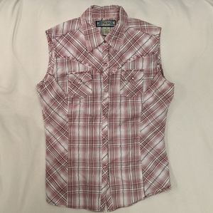 Pearl snap plaid sleeveless Western shirt